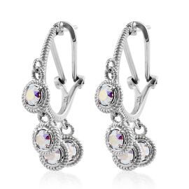 J Francis Crystal from Swarovski - AB Colour Crystal (Rnd) Hoop Earrings (with French Clip) in Platinum Overlay Sterling Silver.Silver Wt 6.00 Gms