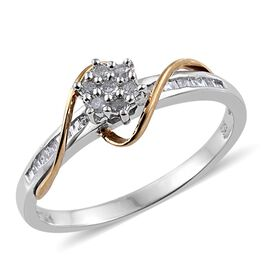 Diamond (Rnd) Ring in Platinum and Yellow Gold Overlay Sterling Silver 0.250 Ct.