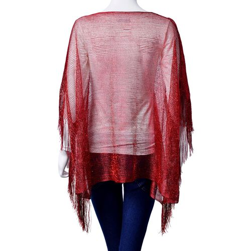 Red Colour Poncho with Tassels (Size 100x60 Cm)