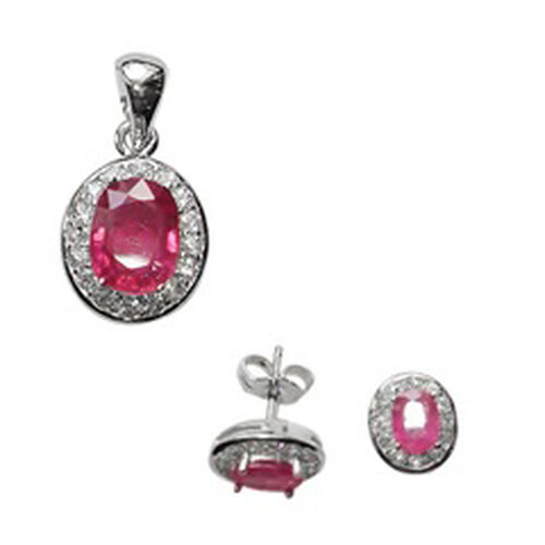 ELANZA AAA Simulated Ruby (Ovl), Simulated Diamond Stud Earrings (with Push Back) and Pendant in Rhodium Plated Sterling Silver