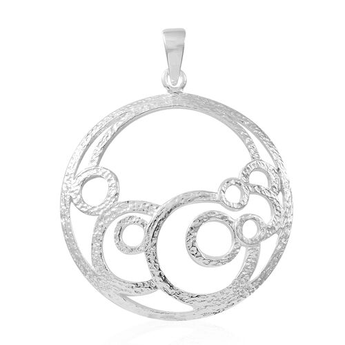 Designer Inspired-Thai Sterling Silver Circle Pendant, Silver wt. 3.60 Gms