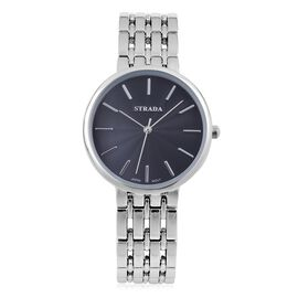 STRADA Urban Style Black Finished Silver Tone Metal Strap Watch