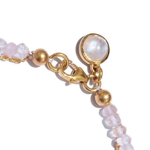 Rose Quartz (Rnd), Rainbow Moonstone Bracelet (Size 7.5) with Circle Charm in Yellow Gold Overlay Sterling Silver 8.800 Ct.
