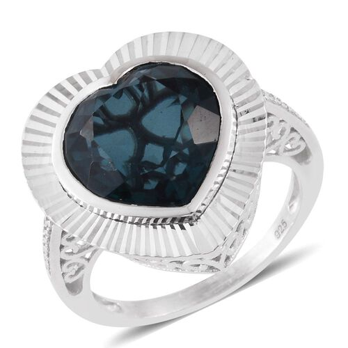 Indicolite Triplet Quartz (Hrt) Solitaire Ring in Sterling Silver 10.150 Ct.