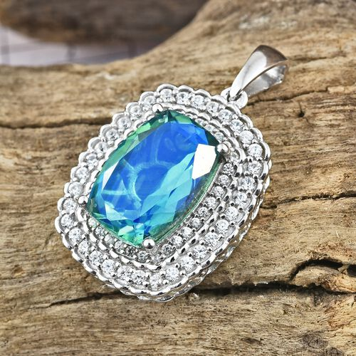 Peacock Quartz (Cush 6.60 Ct), Natural Cambodian Zircon Pendant in Platinum Overlay Sterling Silver 7.500 Ct.
