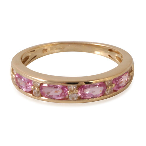 9K Y Gold AAA Pink Sapphire (Ovl), Natural Cambodian Zircon Ring 1.500 Ct.
