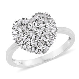 Designer Inspired- Diamond (Rnd and Bgt) Heart Ring in Platinum Overlay Sterling Silver 0.500 Ct.