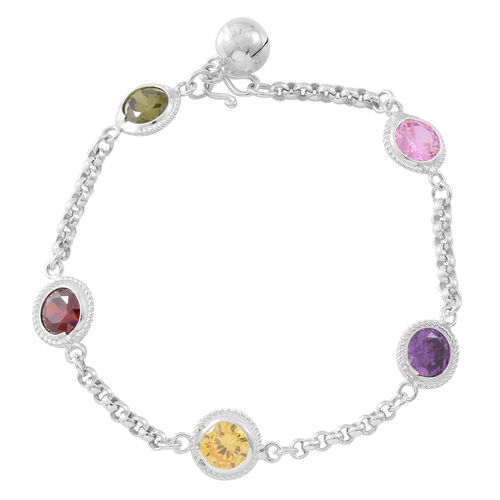 One Time Deal- ELANZA AAA Simulated Multi Colour Diamond (Rnd) Bracelet (Size 7) in Sterling Silver, Silver wt. 6.00 Gms.