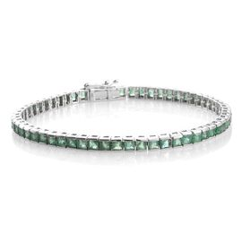 Limited Edition - 9K White Gold AAA Kagem Zambian Emerald (Princess) Bracelet (Size 7.5) 8.250 Ct.Gold Wt 10.02 Gms