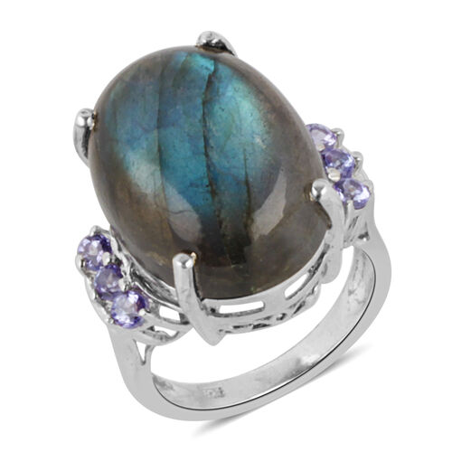 Labradorite (15.00 Ct),Tanzanite Platinum Overlay Sterling Silver Ring  15.500  Ct.