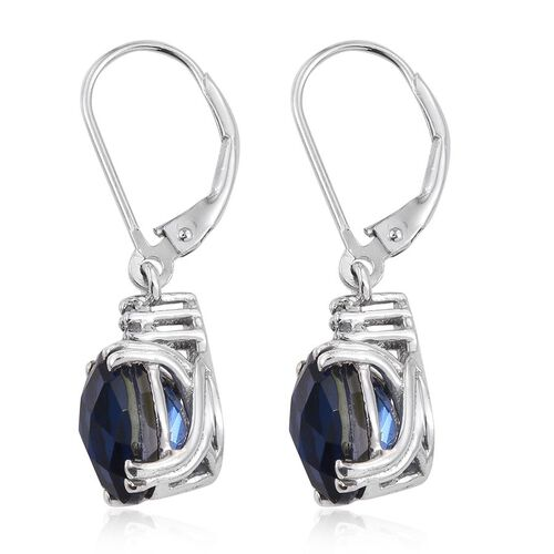 Checkerboard Cut Ceylon Colour Quartz (Ovl), White Topaz Lever Back Earrings in Platinum Overlay Sterling Silver 6.300 Ct.