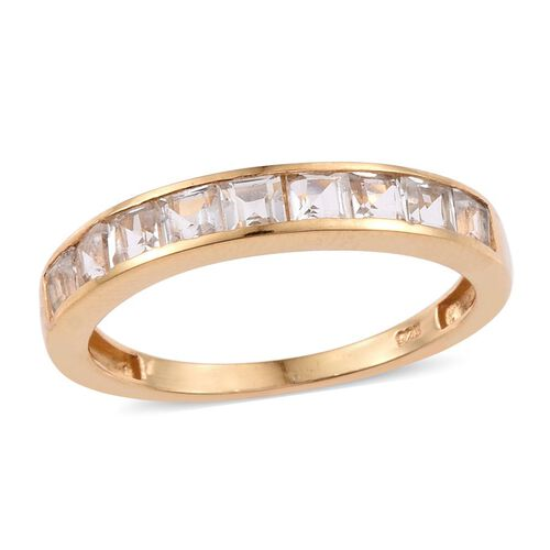 White Topaz (Sqr) Half Eternity Band Ring in 14K Gold Overlay Sterling Silver 1.750 Ct.