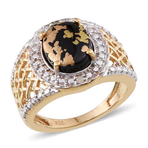 Goldenite (Ovl 2.00 Ct), Diamond Ring in 14K Gold Overlay Sterling Silver 2.020 Ct.