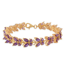 Kaleidoscope Collection - Lusaka Amethyst (Mrq) Butterfly Bracelet (Size 7.5) in 14K Gold Overlay Sterling Silver 10.000 Ct.