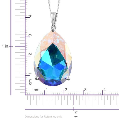 J Francis Crystal from Swarovski - AB Colour Crystal (Pear) Pendant with Chain (Size 30) in Platinum Overlay Sterling Silver, Silver wt 10.00 Gms.