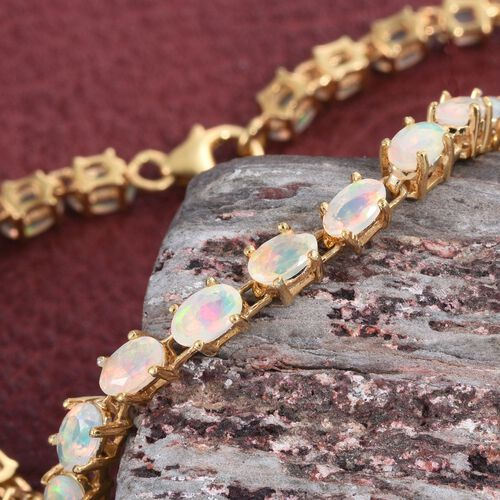 Ethiopian Welo Opal 4.75 Ct Silver Tennis Bracelet  in Gold Overlay (Size 7.5)