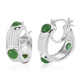 One Time Deal - Green Jade (Rnd) Hoop Earrings (with Clasp Lock) in Sterling Silver 4.000 Ct. Silver wt 7.03 Gms
