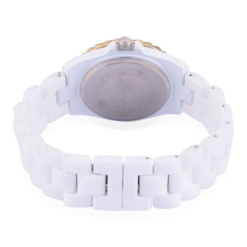 Diamond studded GENOA White Ceramic Japanese Movement Watch with MOP Dial Water Resistant in Gold Tone with Stainless Steel Back