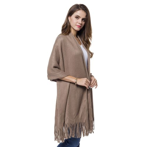 Taupe Grey Colour Stripes Pattern Knitted Scarf with Tassels (Size 190X65 Cm)