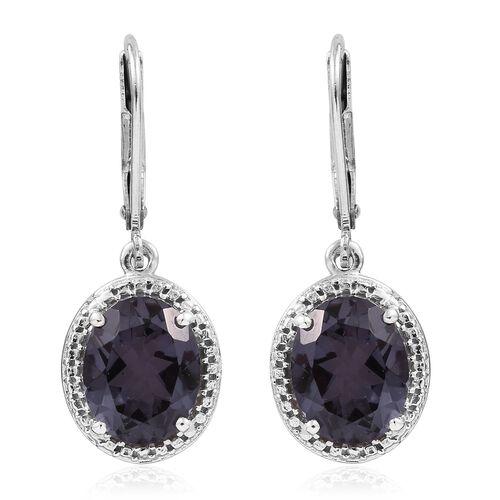 Alexandria Quartz (Ovl) Lever Back Earrings in Platinum Overlay Sterling Silver 5.500 Ct.