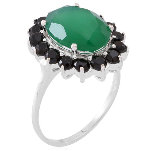 Verde Onyx (Ovl 5.25 Ct), Boi Ploi Black Spinel (Rnd 2.75 Ct) Ring in Sterling Silver 8.000 Ct.