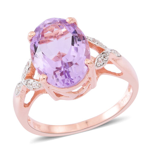 Rose De France Amethyst (Ovl 5.00 Ct), Natural White Cambodian Zircon Ring in Rose Gold Overlay Sterling Silver 5.300 Ct.