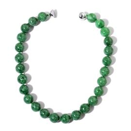 Burmese Green Jade Necklace with Magnetic Lock (Size 20) in Rhodium Plated Sterling Silver 908.400 Ct.