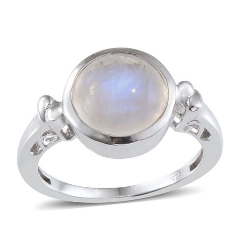Rainbow Moonstone (Rnd 3.75 Ct) Solitaire Ring in Platinum Overlay Sterling Silver 3.750 Ct.