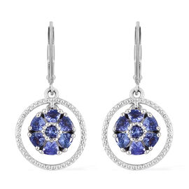 AA Tanzanite (Trl and Rnd) Lever Back Earrings in Platinum Overlay Sterling Silver 1.450 Ct.