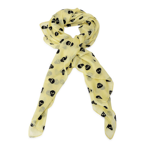 Black Colour Skull Printed Yellow Colour Scarf (Size 95x95 Cm)