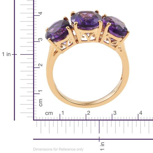 Moroccan Amethyst (Ovl 2.30 Ct) 3 Stone Ring in 14K Gold Overlay Sterling Silver 7.800 Ct.