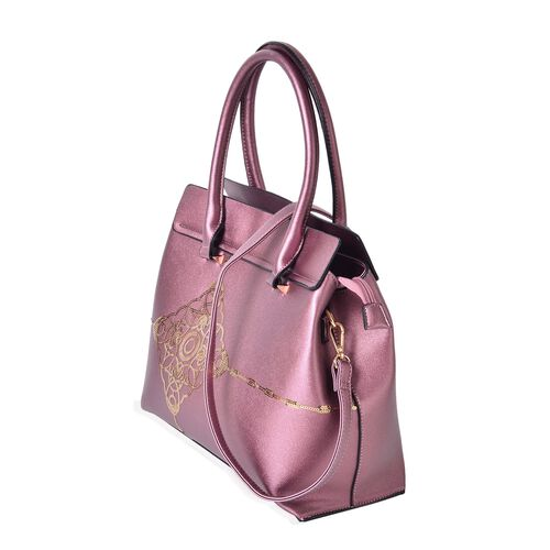 Metallic Purple Colour Golden Sequin Art Embellished Tote Bag with External Zipper Pocket and Removable Shoulder Strap (Size 32.5X29X13 Cm)