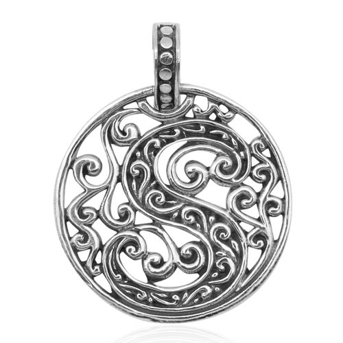 Royal Bali Collection Sterling Silver Initial S Pendant, Silver wt 3.99 Gms.
