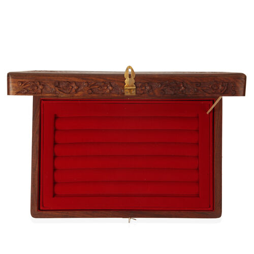 Indian Artistic and Decorative Handicraft Wooden Box with Tray (Size 12x8x3.75 inch)