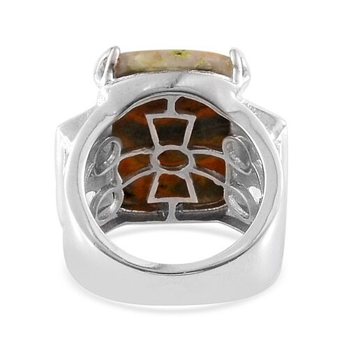 Bumble Bee Jasper (Cush 14.50 Ct), White Topaz Ring in Platinum Overlay Sterling Silver 16.000 Ct.