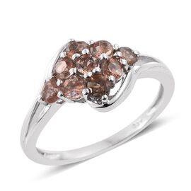 Brazilian Andalusite (Rnd) Cluster Ring in Platinum Overlay Sterling Silver 1.000 Ct.