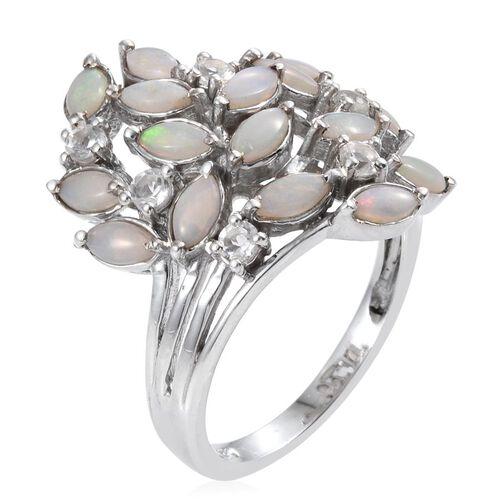 Australian White Opal (Rnd), White Topaz Leaves Ring in Platinum Overlay Sterling Silver 1.750 Ct.