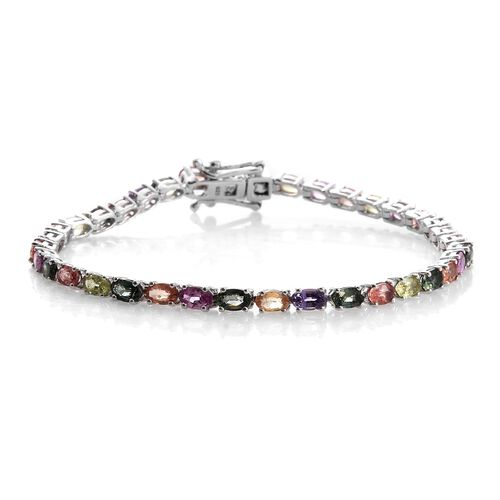Multi Sapphire 11 Carat Silver Tennis Bracelet in 14K Platinum Overlay (Size 7.5)