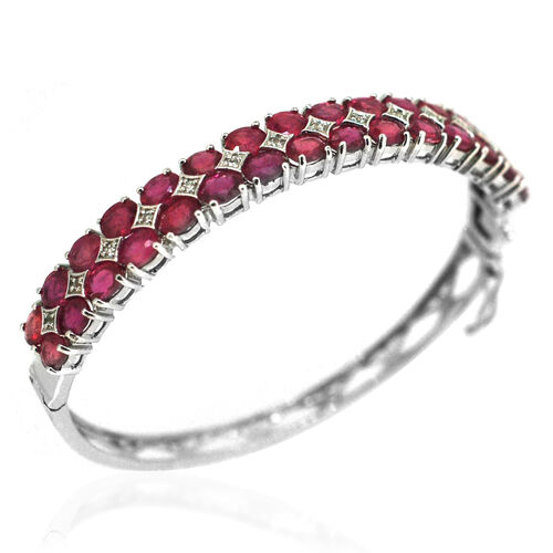 African Ruby (Ovl), White Topaz Bangle (Size 7) in Rhodium Plated Sterling Silver 16.580 Ct.