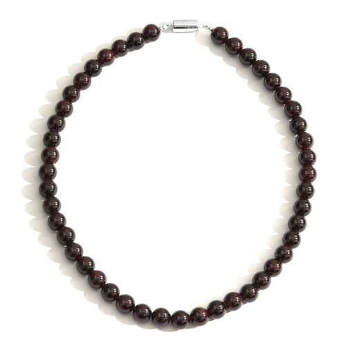 Natural Mozambique Garnet Beads Necklace (Size 18) with Magnetic Clasp in Rhodium Plated Sterling Silver 400.000 Ct.