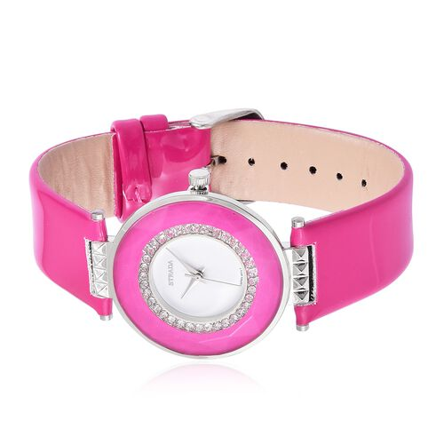 STRADA Japanese Movement White Austrian Crystals Studded Watch in Silver Tone with Fuchsia Colour Strap