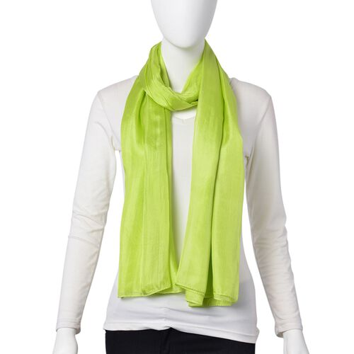 Pantone Collection- 100% Mulberry Silk Light Green Colour Scarf (Size 180X100 Cm)