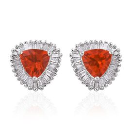 RHAPSODY 950 Platinum AAAA Jalisco Fire Opal (Trl) Diamond (VS/E-F) Halo Stud Earrings (with Screw Back) 1.500 Ct.