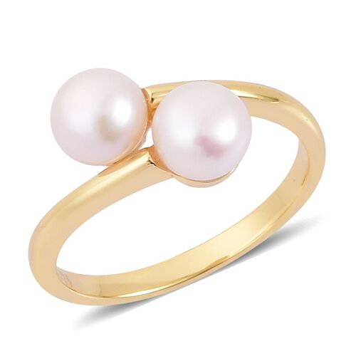 Fresh Water Pearl Crossover Ring in Yellow Gold Overlay Sterling Silver