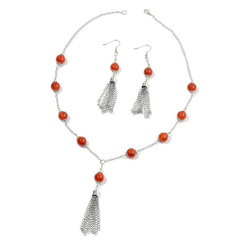 Dyed Red Agate Necklace (Size 24) and Hook Earrings in Silver Tone 150.000 Ct.