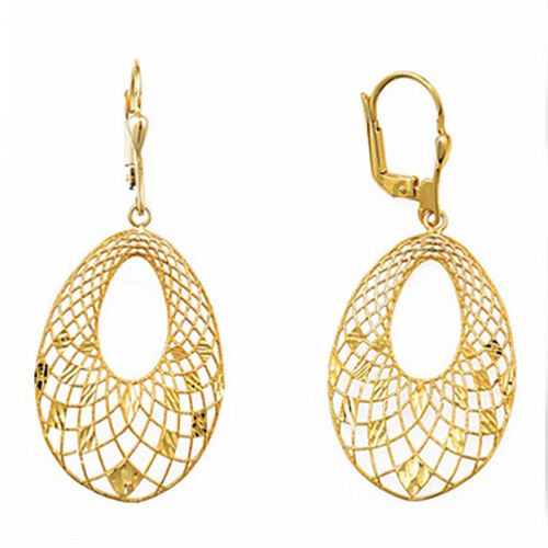 Designer Inspired- Vicenza Collection 9K Y Gold Lever Back Earrings