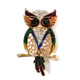 Designer Inspired - AAA White and Green Austrian Crystal (Rnd) Owl Brooch in Yellow Gold Plated.