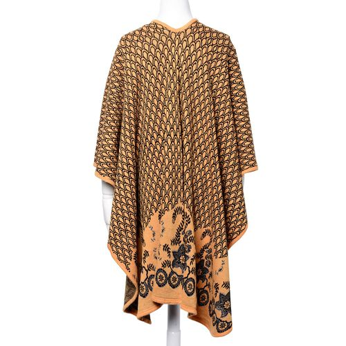 Designer Inspired Fish Scale Print Orange and Black Colour Poncho (Size 120x90 Cm)