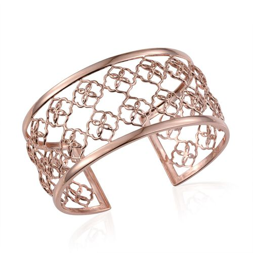Kimberley Crimson Spice Collection Rose Gold Overlay Sterling Silver Cuff Bangle (Size 7.5), Silver wt 19.00 Gms.
