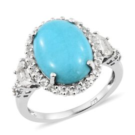 AA Arizona Sleeping Beauty Turquoise (Ovl 7.00 Ct), White Topaz Ring in Platinum Overlay Sterling Silver 8.750 Ct.